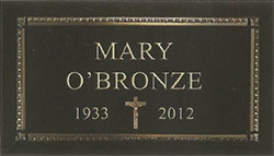 Gothic with Crucifix Bronze Memorial tombstone grave stone