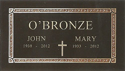Plain Cross Bronze Memorial marker tombstone plain edge