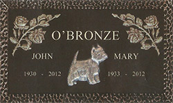 Simplicity Bronze Memorial dog rose marker grave