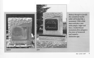 Rose City Memorials sign Cut Knife